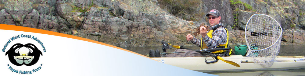 Photo of a kayak fishing tour participant floating in a kayak