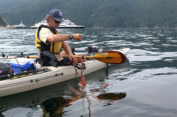 Photo of a kayak fishing guide releasing his catch